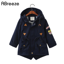 2019 Spring Autumn children outerwear & coats England style boys girls Trench co