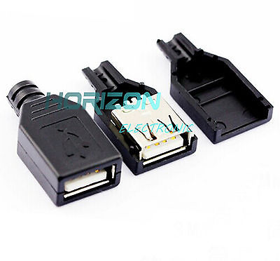 Temperate 10pcs Usb2.0 Type-a Plug 4-pin Female Adapter Connector Jack&black Plastic Cover