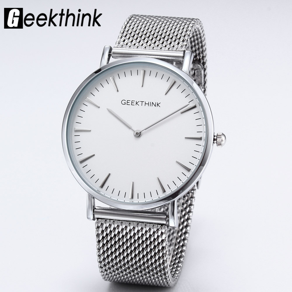 Top Brand Luxury Quartz watches men Casual Fashion Japan Gentleman Silver stainless steel Mesh Band ultra thin clock male Unisex ysdx 398 fashion stainless steel self stirring mug black silver 2 x aaa