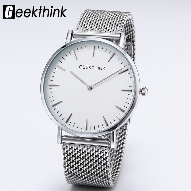 Top Brand Luxury Quartz watches men Casual Fashion Japan Gentleman Silver stainless steel Mesh Band ultra thin clock male Unisex