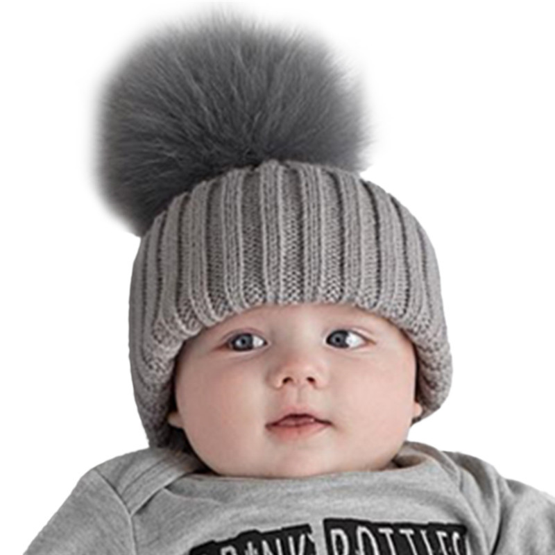 Baby Boys Girls Fur Pompom Hat Winter Caps Wool Knitted Rabbit Fur Hats For Kids Children's Warm Pom Pom Hat Beanies Bonnet 2017 casual 100% cotton star design top spring hat for baby 6 months 2 years girls boys unsiex caps with raccoon fur pompom