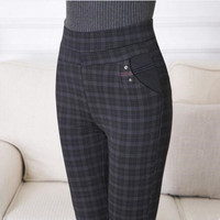 Mid Calf OL Style Wool Leggings 2016 New Fashion Plaid Pants Women Clothing Workout Clothes For