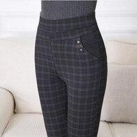 2018 Women Plaid High Waist Pants Full Length Cotton Spring/Autumn Fitness Trousers Plus Size 3XL 4XL 5XL 6XL 7XL