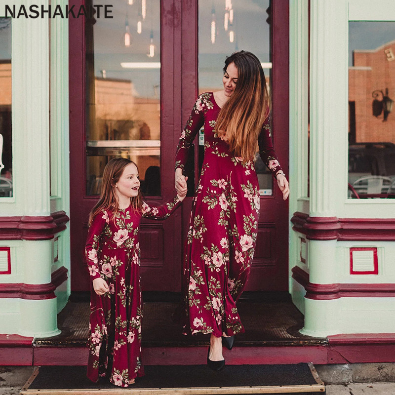 adsfay.com Mother-daughter-dresses-Wine-Floral-Long-Vestidos-Mother-and-daughter-clothes-Mom-and-daughter-dress-Family.jpg