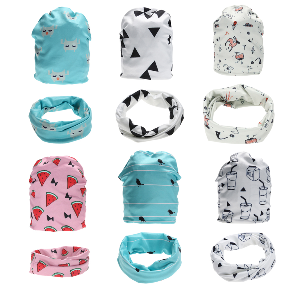 2pcs Baby Hat With O-Ring Scarf Set Printing Baby Hat Cartoon Cotton Beanie Neckerchief Scarf Baby Clothing Accessories