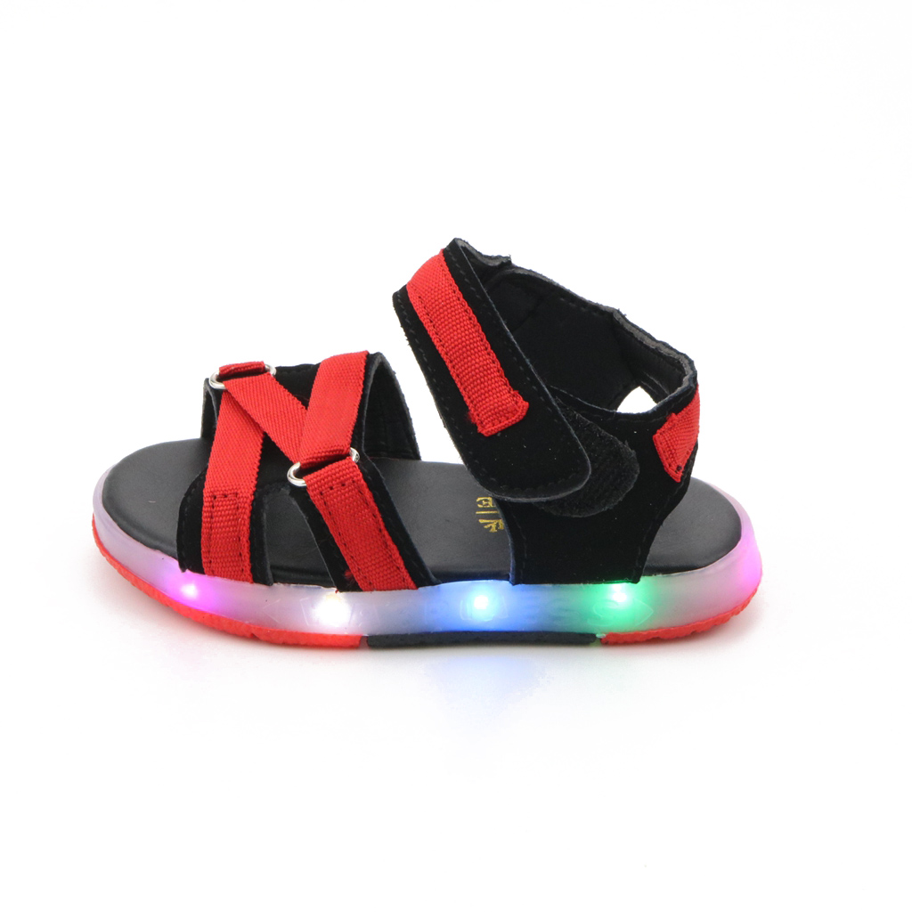 JUSTSL children's shoes 2017 new summer kids boys Girls Soft fashion sandals LED Baby beach shinny shoes
