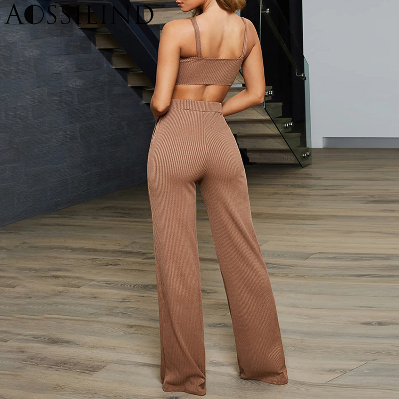 AOSSILIND Summer Ribbed Sexy Two Piece Set Outfits Women Strap Crop Top and Pants Set Ladies Casual Sleeveless Tracksuits in Women 39 s Sets from Women 39 s Clothing