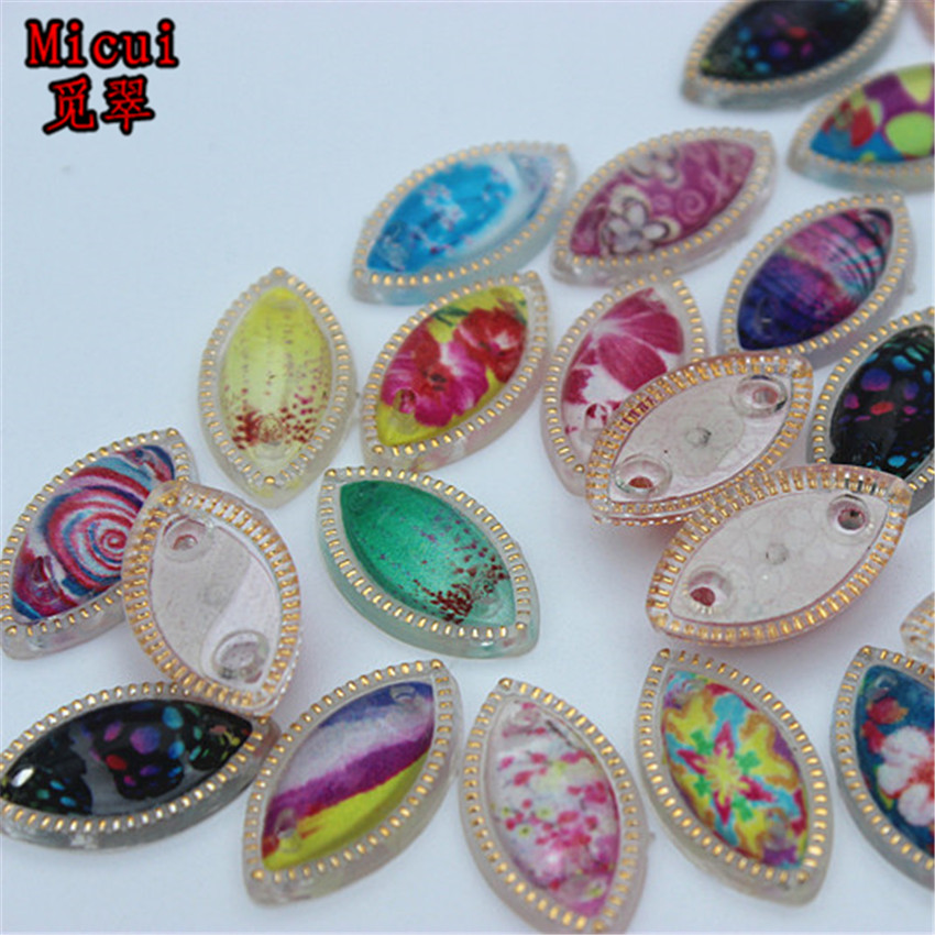 Micui 50pcs 10*17.5mm Horse Eye Flower Acrylic Rhinestones Crystal Flatback Sew on Stone For Clothes Dress Craft ZZ604C
