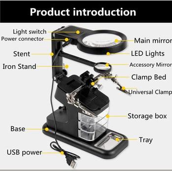 Soldering Iron Stand Holder Station Desk Magnifier LED Light Clamp Clip Helping Hand Magnifyer