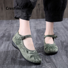 Women Retro Chinese Traditional Embroidery Flat Sho