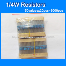 Livraison Gratuite 1/4 W 0.25 W Couleur Anneau 150valuesX20pcs = 3000 pcs Résistance Kit 0R ~ 10 M résistance Pack