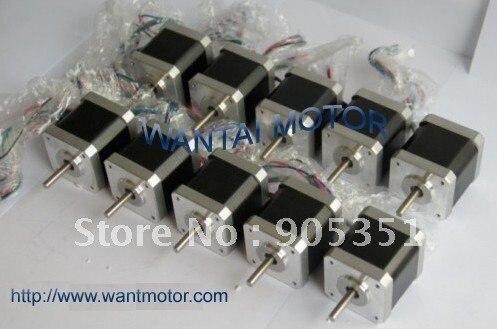 ФОТО 10 PCS CNC Nema17 for 1.7A, 4000g.cm, 40mm length,2 phase Wantai Stepper Motor