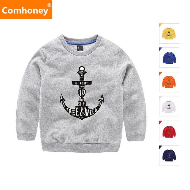 3672532f82e49 Bébé Filles Sweat Ancre Motif Garçons Hoodies Enfants Coton T-shirt 7  Couleurs Enfant Chandail