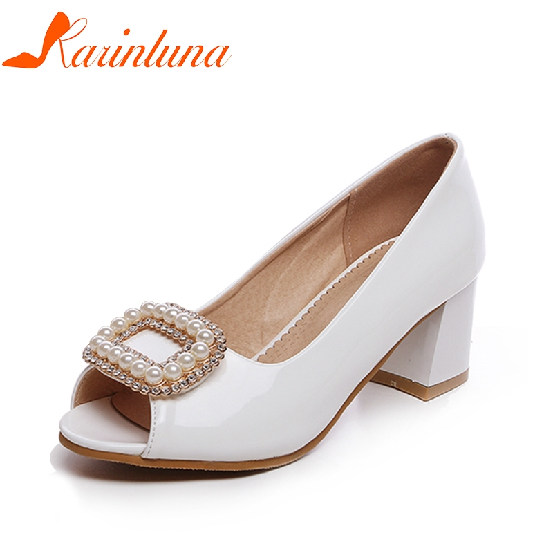 KARINLUNA 2018 Plus Size 30-50 Customized Spring Summer Pearls Peep Toe Women Shoes Pumps Square High Heels Shoes Woman plardin new summer plus size woman indoor and outdoor peep toe square pearl antiskid sandals shoes with one word woman shoes
