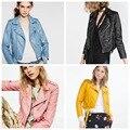 2016 de las mujeres solteras Español peach pink leather jacket chaquetas mujer abrigos mujer chaquetas abrigo