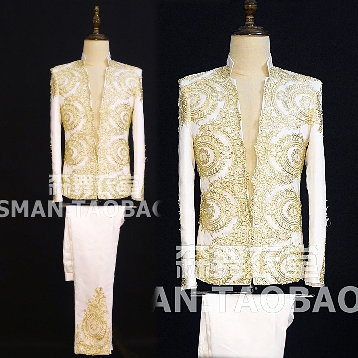 Male singer DJ retro court embroidered white suit costume suit European and American personality tide men's collar suit