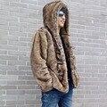 Top Brand Vogue Мужская Мода Искусственного Меха Кролика Пальто Сгущаться Хлопок Проложенный С Капюшоном Вещевой/Переключение Зимняя Куртка Для Человека мужской Пальто