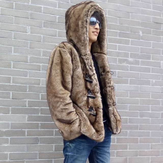 Top Brand Vogue Mens Fashion Faux Rabbit Fur Coat Thicken Cotton Padded Hooded Duffel/Toggle Winter Parka For Man Male Coats