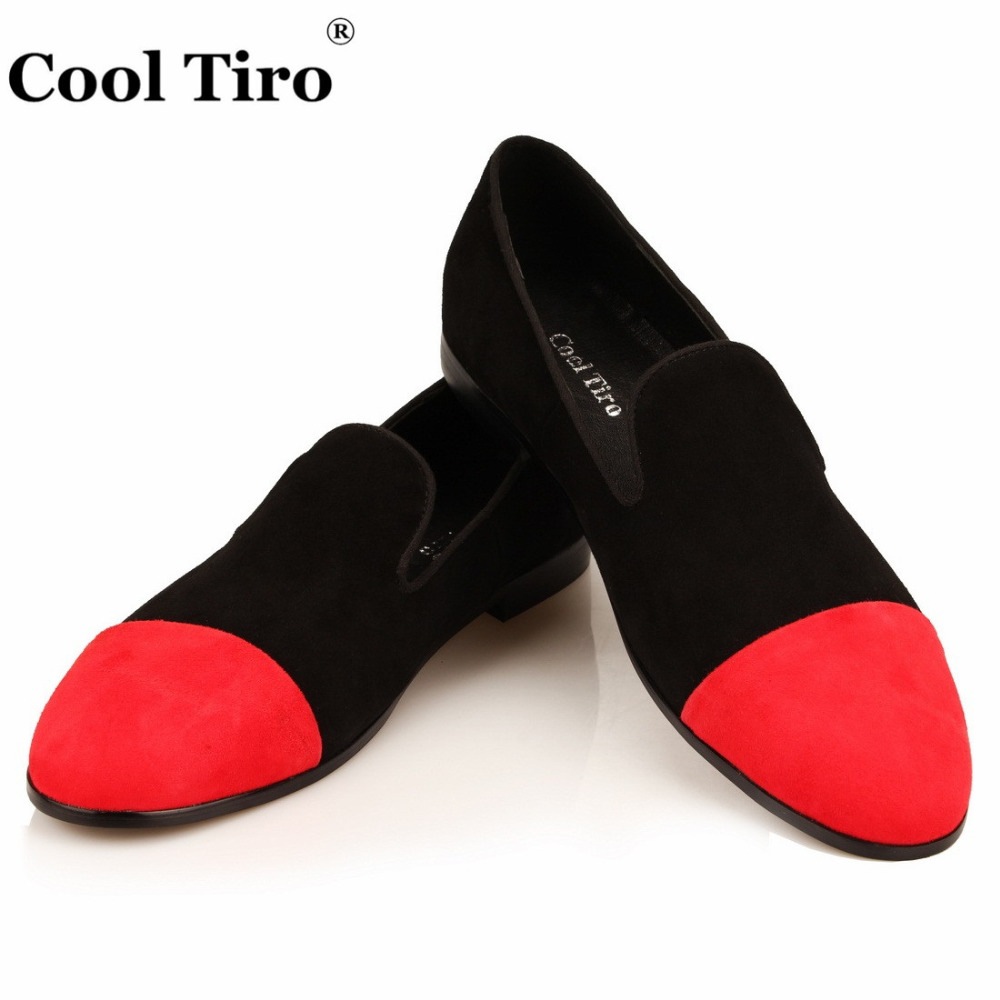 COOL TIRO Moccasins Men Loafers Black Red Suede Smoking Slippers Flats Casual Shoes Wedding Party Men