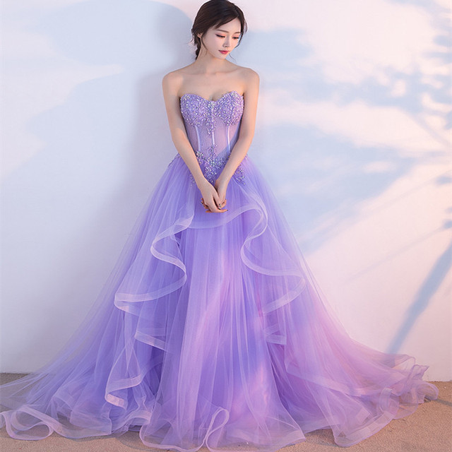 2a141a381d5 Holievery Ruffled Organza Ball Gown Wedding Dresses Lavender 2019 Beaded  Appliques Bridal Gown Floor Length Wedding Gowns
