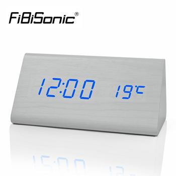 FiBiSonic Wood cyfrowy budzik led kontrola dźwięku budzik drewniany pulpit LED i zegar z temperaturą tanie i dobre opinie Bambusowe i drewniane Antique style Kalendarze Luminova 1301 Skoki ruch Kontrola akustyczna sensing 80mm DIGITAL 6 cal Japan style
