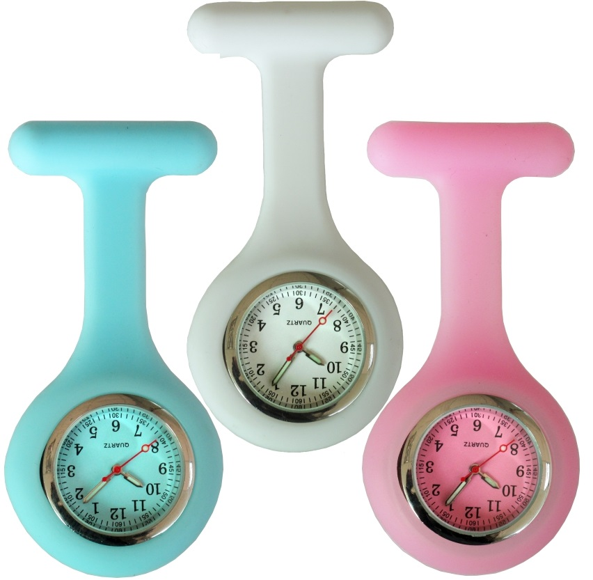 NEW fashion full colors design silicone rubber soft pin nurse FOB pocket watch unisex ladies women