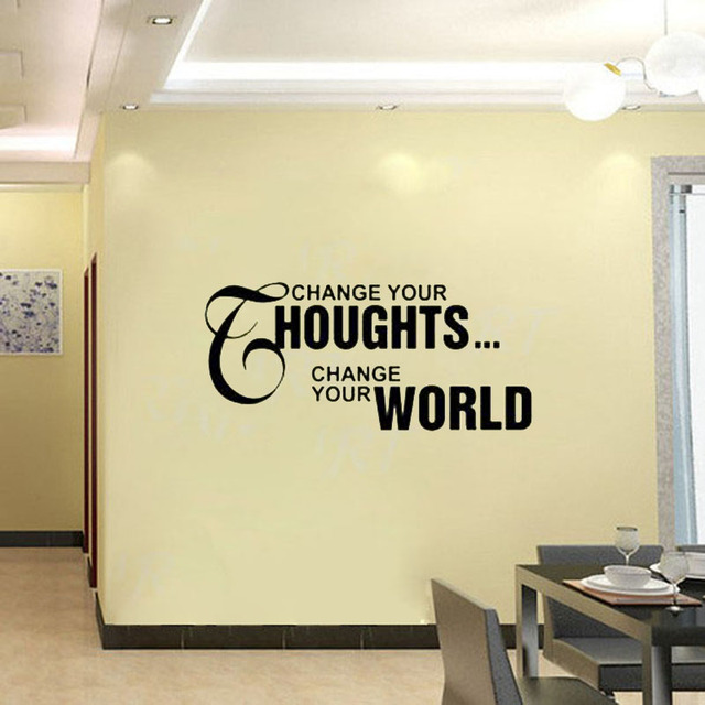 CaCar Change Your Thoughts Change Your World Living Room Wall Decor Sticker  Quotes Vinyl Wall Decal