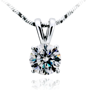 TN205 Free Shipping!Fashion Classic 1 carat/2 carat 4prongs sona Simulated Gem Necklace  ...