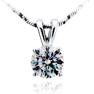 TN205 Free Shipping!Fashion Classic 1 carat/2 carat 4prongs sona Simulated Gem Necklace  ...