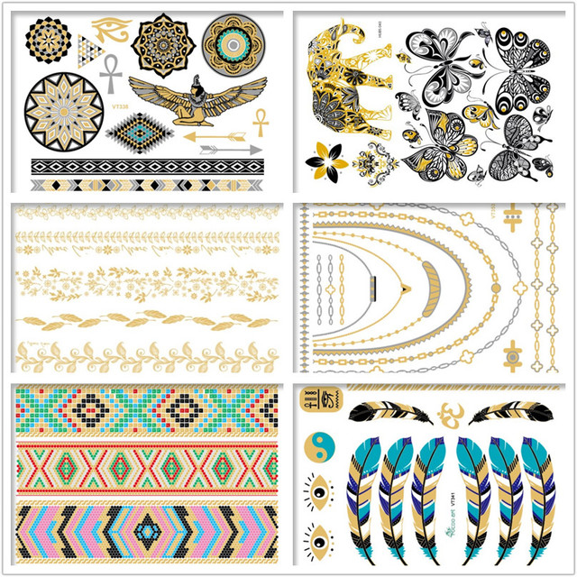 Premium Boho Metallic Tattoos,100 Temporary Shimmer Tattoo Designs - Feathers, Peacock, Wings,Butterfly,Elephant Gold Silver