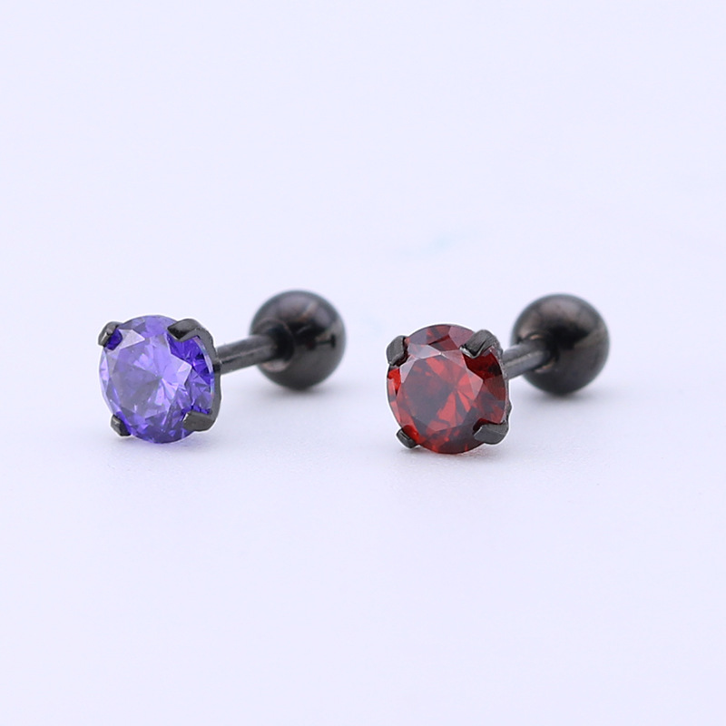 steel stainless 5mm crystal color AAA zircon earrings selling fashion trend stud earrings hypoallergenic (EA102322)