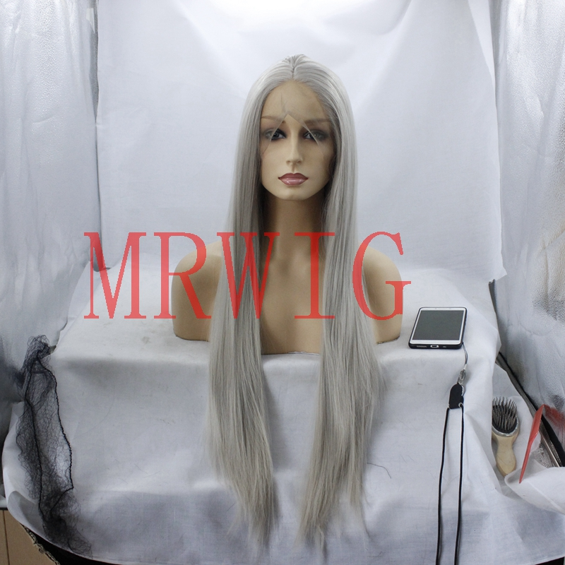 MRWIG #4503 long straight middle part front lace wig glueless 26inch 330g 150%density he ...