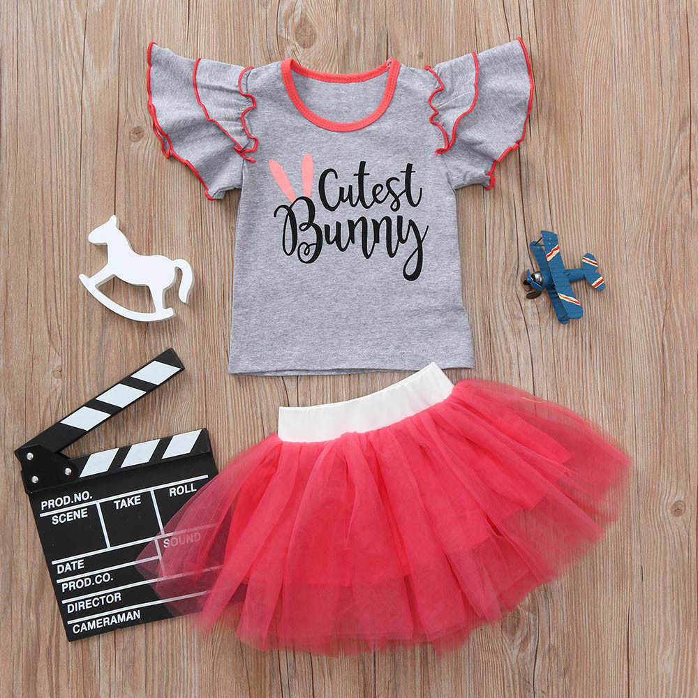 Casual Children Sets Toddler Infant Baby Girls Letter Print Flare Tops girls clothes T Shirt Tutu Skirt Outfits Set dropshipping