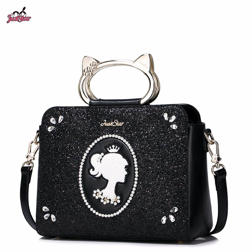 Just Star Brand New Design Cat Handle Ring Pearls Diamonds Fashion PU Women Leather Girls Ladies Handbag Shoulder Crossbody Bags just star brand new design fashion flowers pu leather women s handbag ladies girls shoulder cross body drawstring bucket bag