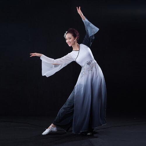 (091) Chinese folk dancenew classical dance theatrical costumes ink painting black and white classical dance costumes fan dance