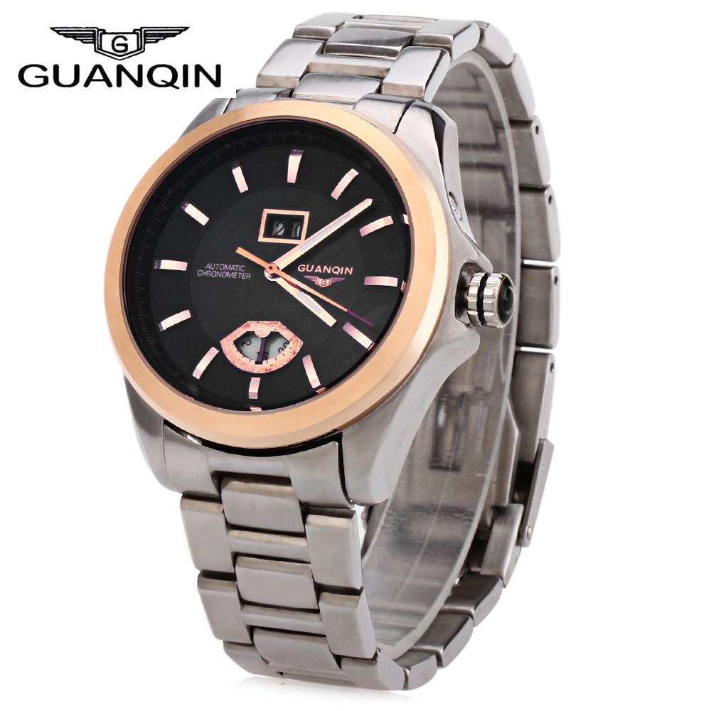 GUANQIN Men Auto Mechanical Watch Water Resistance Luminous Pointer Date 24 - hour Display Transparent Back Cover Wristwatch цена 2016