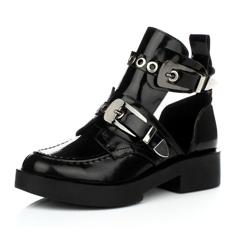 2017 Black Genuine Leather Flat Women Motorcycle Boots Ankle Martin Boots Shoes Riding Gladiator Booties for women women martin boots 2017 autumn winter punk style shoes female genuine leather rivet retro black buckle motorcycle ankle booties