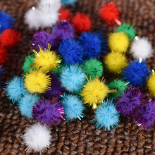 10mm DIY Gold thread Soft Pom Poms balls Fluffy Multi option Pompoms Wedding Decoration Accessories 100pcs/lot