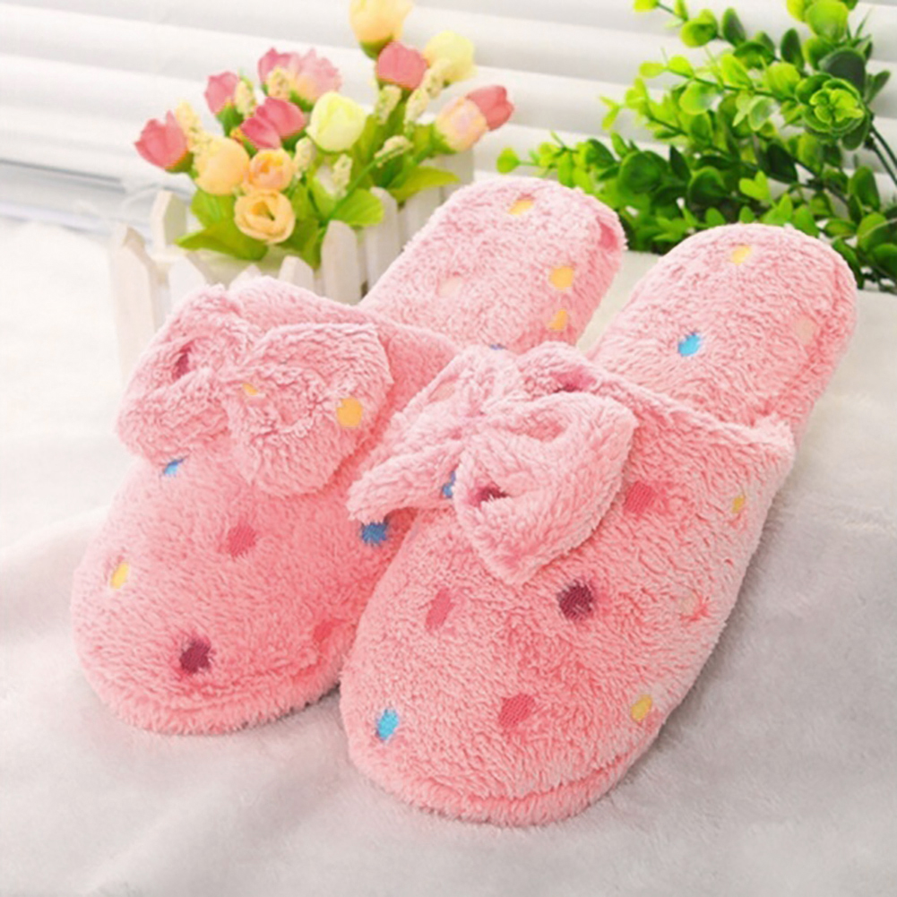 Fashion Womens Cozy Bowknot Slippers Bedroom House ShoesFashion Womens Cozy Bowknot Slippers Bedroom House Shoes