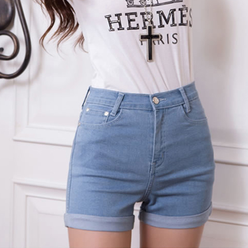 Casual 2018 New Korean Style Summer Vintage High Waisted Denim Women Shorts Plus Size Slim Stretch Turn Ups Female Jeans Shorts 1