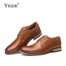 YIGER ใหม่ผู้ชายรองเท้าอย่างเป็นทางการรองเท้า LACE up ขนาดใหญ่ของแท้หนังธุรกิจรองเท้าชายผู้ชายเพิ่มขึ้นรองเท้า 0301