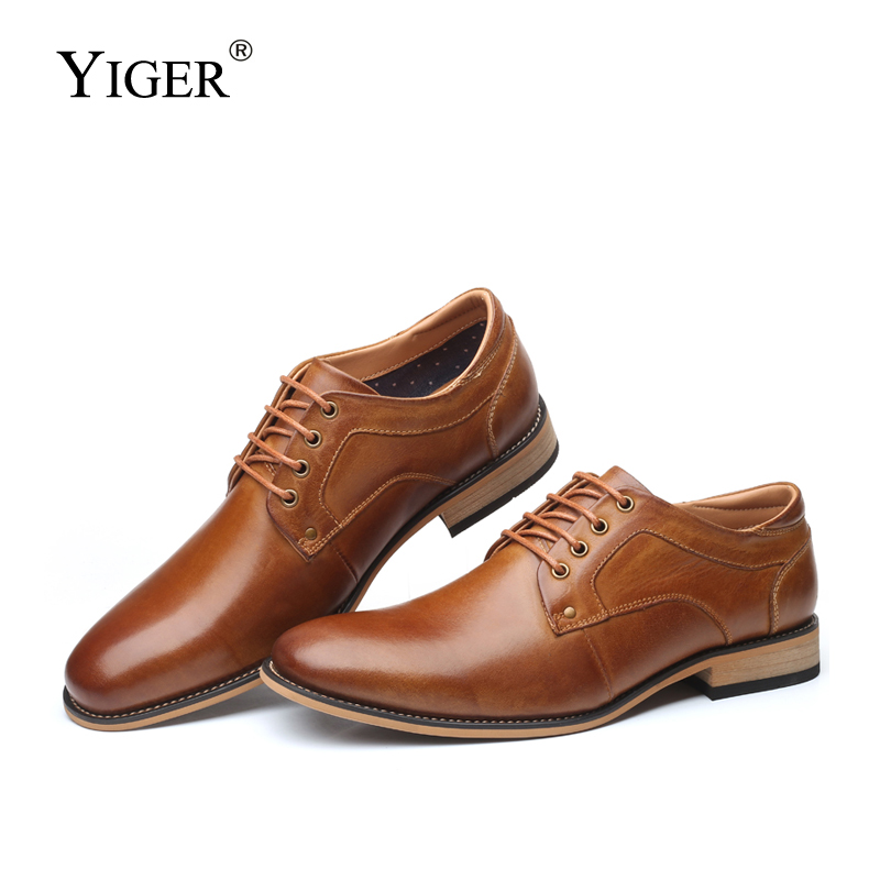 YIGER New Men dress shoes Man formal lace-up shoes Large size Genuine leather business shoes male Increased men's shoes   0301