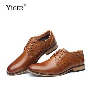 Image 1 - YIGER chaussures habillées pour hommes, nouvelle collection, chaussures formelles, à lacets, grande taille, en cuir véritable, augmentation, chaussures pour hommes, 0301