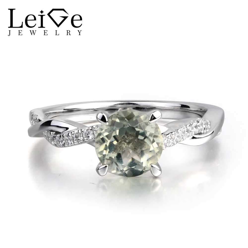 Leige Jewelry Real Green Amethyst Gemstone Round Shape Engagement Romantic Rings For Woman 925 Sterling SilverLeige Jewelry Real Green Amethyst Gemstone Round Shape Engagement Romantic Rings For Woman 925 Sterling Silver
