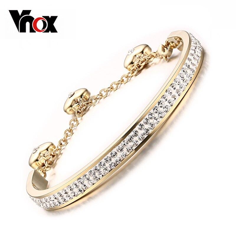 Prix pour Vnox femmes bracelet bracelet en cristal en acier inoxydable or-couleur réglable longueur