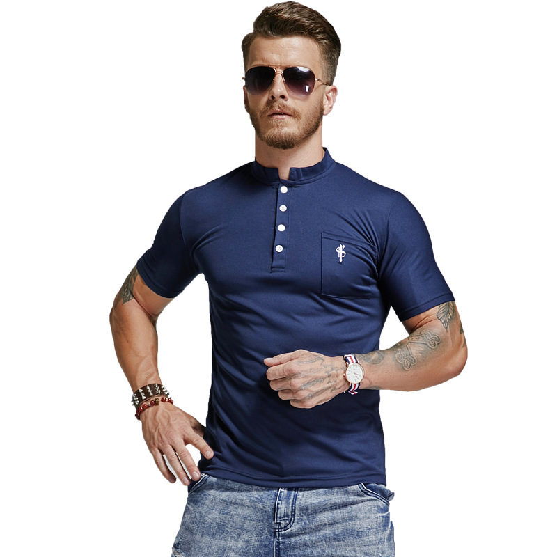 Mens Lapel   Polo   Shirt Brands Light Luxury Button Turn-down Collar Slim Thin Men Poloshirt Cotton Black Blue   Polo   Shirts Man