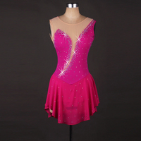 Фигурное катание платье Для женщин девочек Ice платье Темно синие Роза красные, синие со стразами Высокая эластичность производительность к