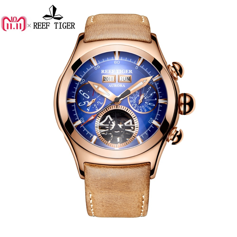 Reef Tiger/RT Luxury Mens Watches Tourbillon Brown Leather Strap Blue Dial Watches Rose Gold Automatic Watches RGA7503