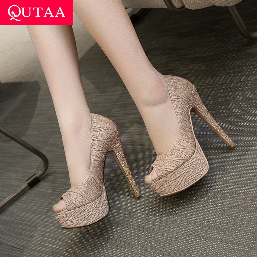 QUTAA 2019 Women Pumps Thin Super High Heel Peep Toe Sliver Platform 3 5cm Party Sexy
