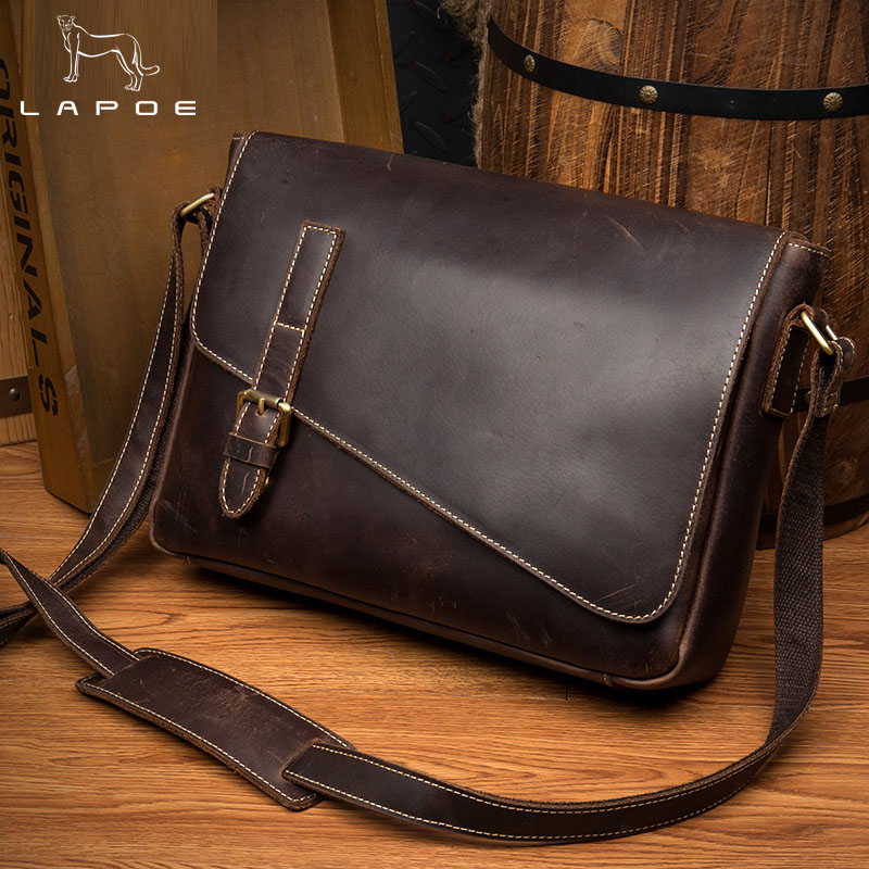 LAPOE Genuine Leather Men Bag Fashion Leather Crossbody Bag Shoulder Men Messenger Bags Small Casual Designer Handbags Man Bags brand designer genuine leather bag fashion shoulder crossbody bags business briefcase casual men handbags